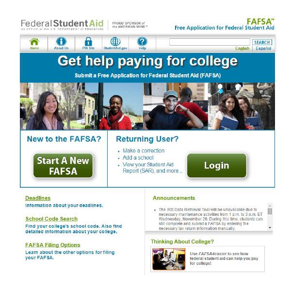 The FAFSA website.