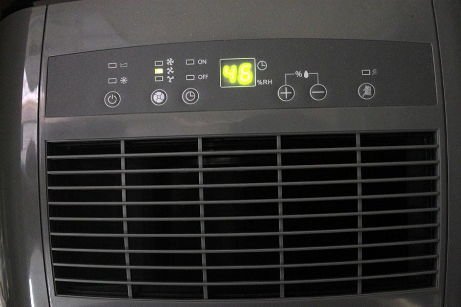 A Dehumidifier in room A-110. The humidity level is 46% and the fan is set to medium.