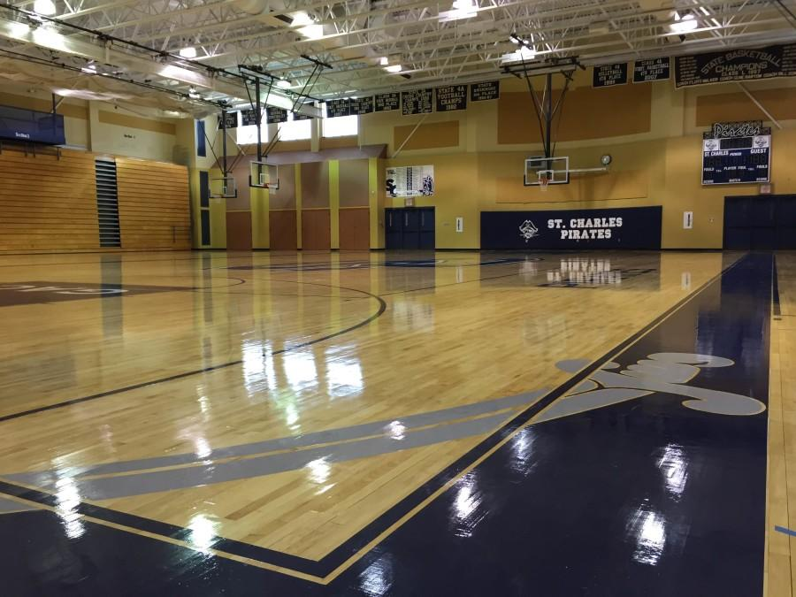 The gym floor was redone again this summer.