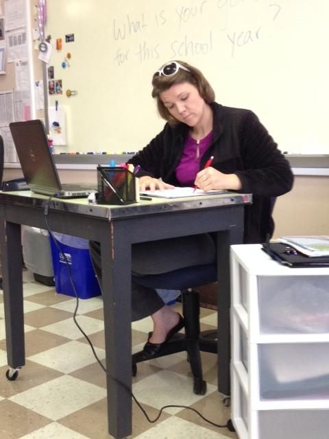 Student teacher Bekah Duncan focuses on her work during her student teaching.