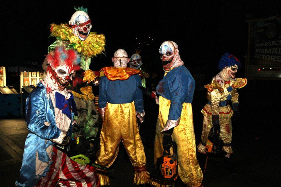 This group of scary clowns stands around with chainsaws. Despite recent rumors, this is not occurring in St. Charles.
