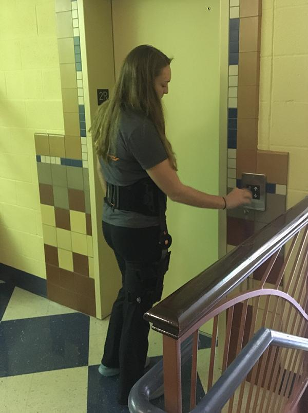 Sophomore Autumn Looney uses the elevator at SCHS to get to her lunch between passing periods.