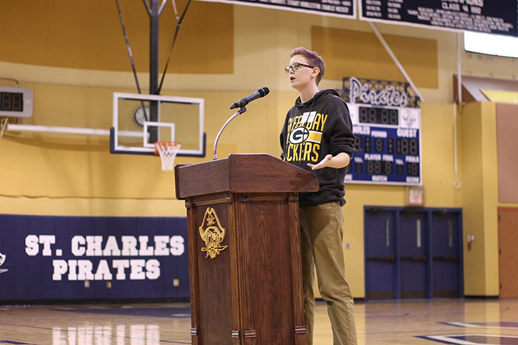 Grayson Vaughn speaks at Red Ribbon Week assembly about his story of heroin addiction and recovery.