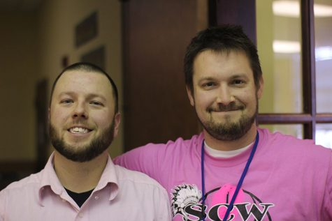 Mr. Wright and Mr. Russell pose for a picture as two of the three Teacher of the Year finalists.