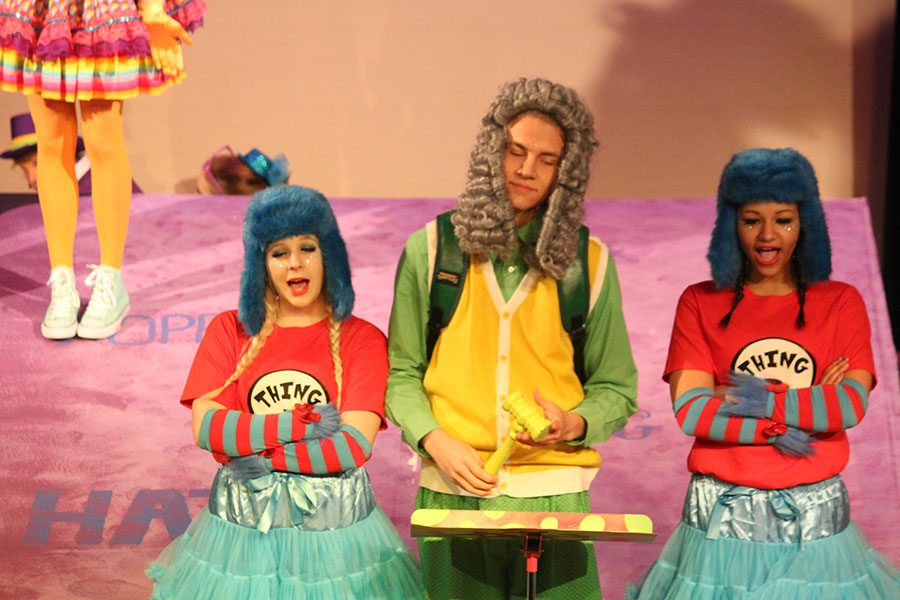 Tyler Bickmeyer plays Yertle the Turtle, with Katrina Lewis and Tiani Ruth as Thing 1 and Thing 2.