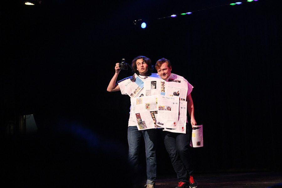 Myers and Hawes took the stage for their talent section with issues of the newspaper taped on their shirt and objects in hand. The two performed simple household tasks as conjoined twins.