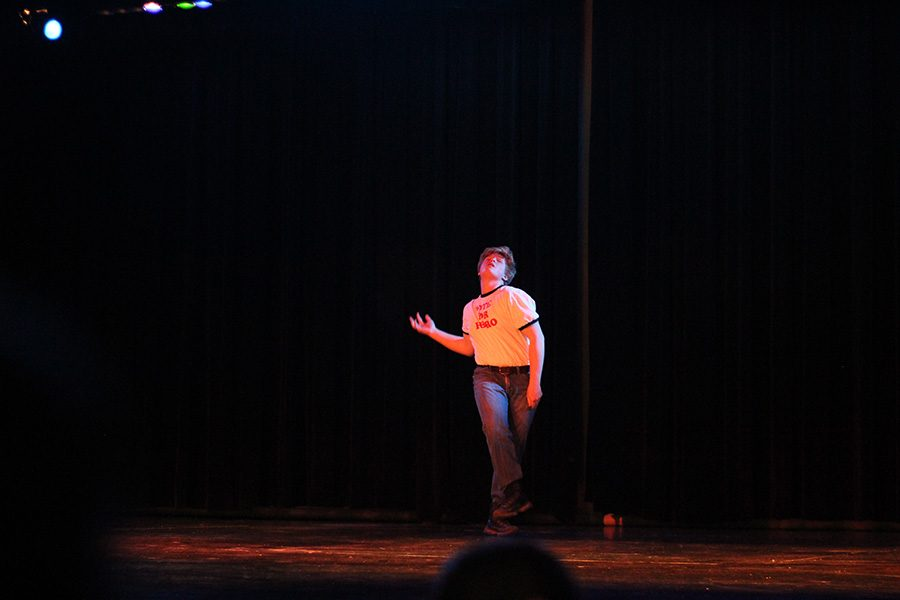 Freshman Noah Sutton took the stage with a nerdy style. Sutton performed the talent show routine from Napoleon Dynamite.