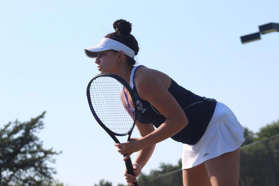 Sophia Marion waits to return a serve against Ft. Zumwalt North on Sept. 5