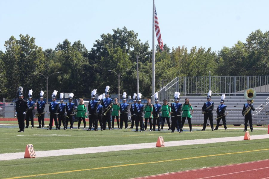 The Band of Pirates takes the field in preparation for their show, tHe CoDe Of SoUnD