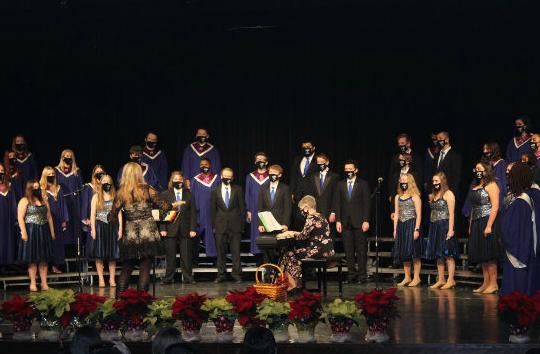 Choir performs at their winter concert.