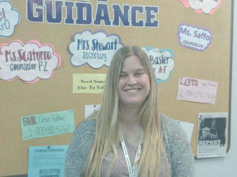 Aimee Saffo smiles in the Guidance Office